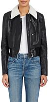 Helmut Lang Women's Leather Crop Bomber Jacket-Black