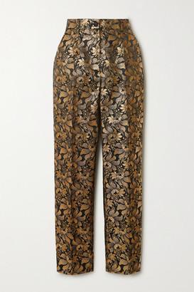 Dolce & Gabbana Metallic Floral-jacquard Straight-leg Pants - Gold