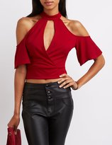 Charlotte Russe Mock Neck Cold Shoulder Crop Top