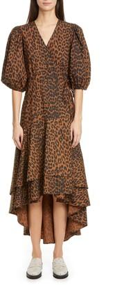 Ganni Puff Sleeve Organic Cotton High/Low Wrap Dress
