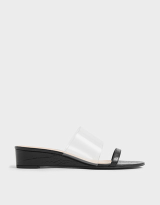 Charles & Keith Croc-Effect Low Wedges