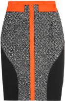 Antonio Berardi Leather-trimmed bouclé and crepe skirt