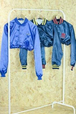 Urban Renewal Vintage Remade From Vintage Blue Bungee Varsity Jacket - Blue M/L at Urban Outfitters