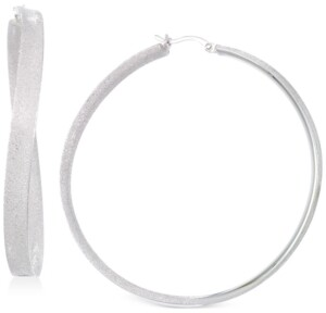 Simone I. Smith Satin-Finished Hoop Earrings in Platinum over Sterling Silver