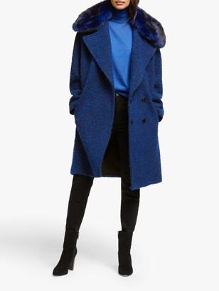 Michael Kors MICHAEL Boucle Cocoon Coat, Twilight Blue