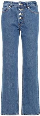 Ganni Cotton Denim Straight Jeans