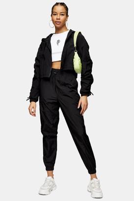 Topshop Womens Black Nylon Joggers - Black