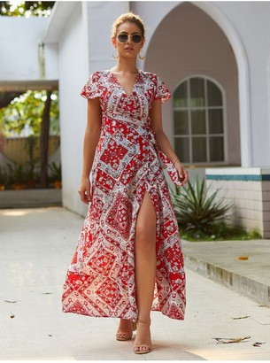 FS Collection Bohemian Style Wrap Maxi Dress In Red & Cream Mix Geometric Print