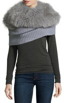 Magaschoni Ribbed Cashmere Shrug w/ Detachable Fox Fur Collar