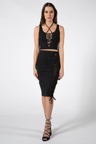 Donna Mizani Lace Up Midi Slit Skirt