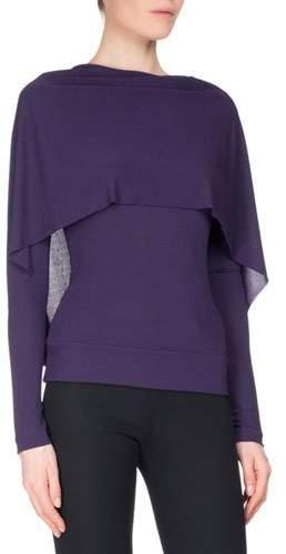 Roland Mouret Bagnet Cowl-Neck Long-Sleeve Top, Dark Purple
