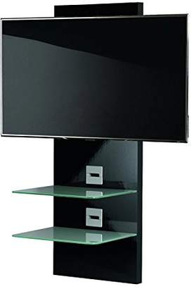 """VCM Scala-3"""" Wall Furniture with LED/LCD Wall Mount and 2-Glass Shelves, Black Varnish/Clear Glass"""