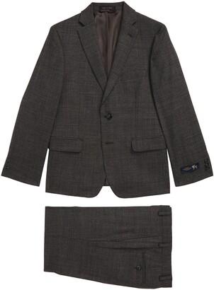 Hart Schaffner Marx Neat Grid Stretch Wool Suit