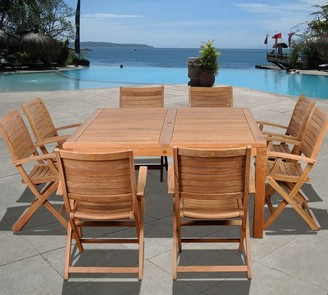 Pottery Barn Saldano 9-Piece Square Dining Table with Maya Folding Dining Armchair Set