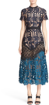 Self-Portrait 'Prairie' Mixed Lace Midi Dress