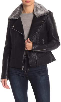 French Connection Faux Fur Collar Faux Leather Jacket