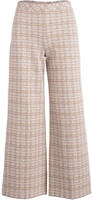 Rosetta Getty Check-Pattern Wide-Leg Trousers