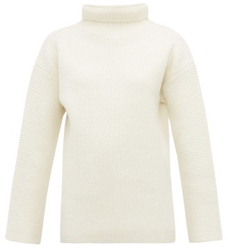 Jacquemus Agde Ribbed Roll-neck Wool-blend Sweater - Womens - White