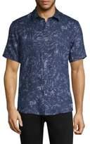 Michael Kors Water Palm Print Linen Button-Down Shirt