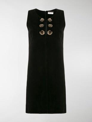 Saint Laurent Flower Button Mini Dress