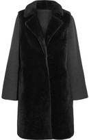 Yves Salomon Layered Shearling And Wool-blend Coat - Charcoal