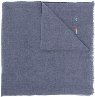 Paul Smith Embroidered Logo Frayed Edge Scarf