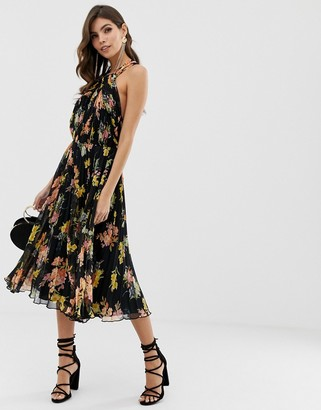 Asos DESIGN pleated bodice halter midi dress in floral print