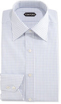 Tom Ford Box-Check Dress Shirt, Blue