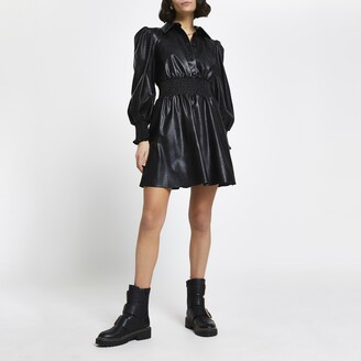 River Island Womens Black faux leather shirred waist shirt dress