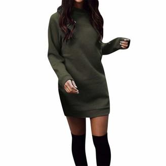 Bringbring Women Winter Warm Round Neck Long Sleeve Mini Dress Party Sweatshirt Dress Green