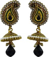 Matra Indian Women Goldtone CZ Stone Jhumka Earring Set Traditional Wedding Jewelry