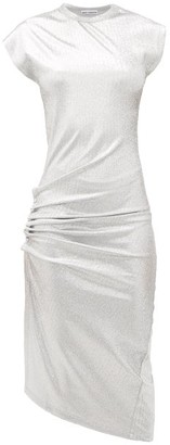 Paco Rabanne Asymmetric Gathered Lame Dress - Silver