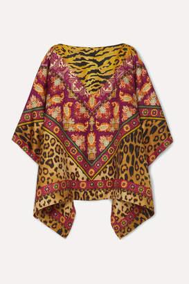 Etro Reversible Printed Silk-twill Poncho - Brown