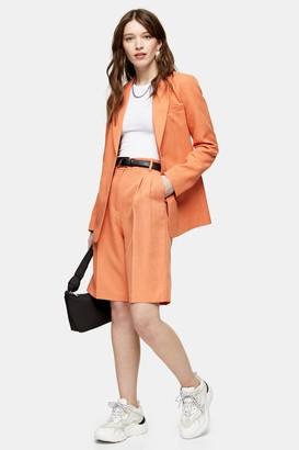 Topshop Womens Orange Pleated Shorts - Orange