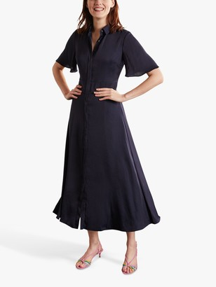 Boden Olive Midi Shirt Dress, Navy