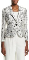 Escada One-Button Floral Jacket, Off White