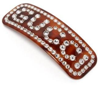 Gucci Crystal-logo Resin Hair Slide - Brown