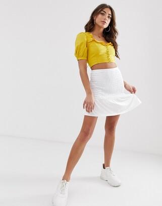 Asos Design DESIGN shirred bask waist mini skirt-White