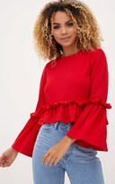 PrettyLittleThing Red Frill Sleeve Top