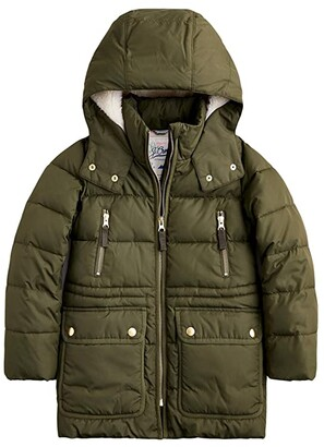 crewcuts by J.Crew Stadium-Cloth Wool Puffer Jacket (Toddler/Little Kids/Big Kids) (Aspen Moss) Girl's Clothing