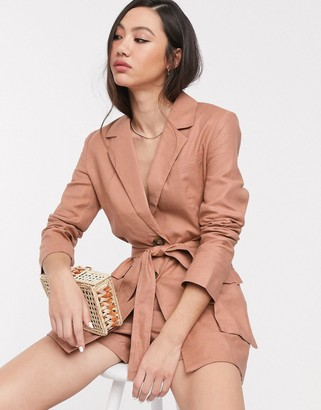 Splendid Asos Design ASOS DESIGN linen suit blazer-Brown