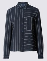 Marks and Spencer PETITE Striped Crop Boxy Shirt