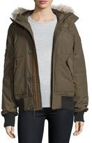 Sorel Hooded Faille Caribou Bomber Jacket, Olive Green