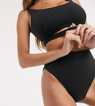 Wolfwhistle Wolf & Whistle Exclusive recycled polyester high waist bikini bottom in black