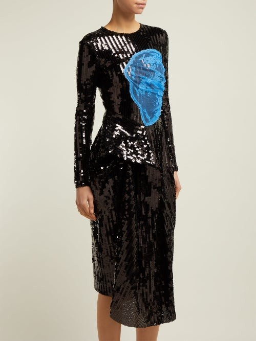 Thumbnail for your product : Preen by Thornton Bregazzi Stephanie Sequinned Panelled Midi Dress - Black Blue