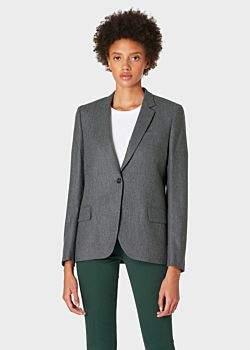 Women's Grey Marl Flannel Wool Blazer