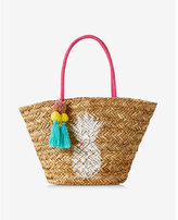 Express pineapple straw tote