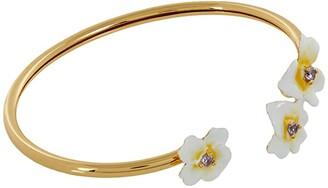 Kate Spade Precious Pansy Enamel Flex Cuff (Yellow Multi) Bracelet