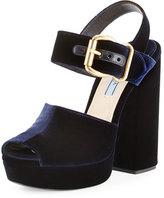 Prada Velvet Platform Ankle-Wrap Sandal, Blue (Bleu)