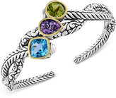 Effy Balissima by Multi-Gemstone Open Cuff Bangle Bracelet (9-1/2 ct. t.w.) in Sterling Silver and 18k Gold
